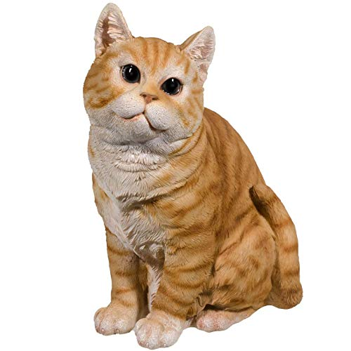 SIDCO Katze Deko Figur Garten Katzenfigur Tigerkatze Skulptur Gartenfigur lebensecht -