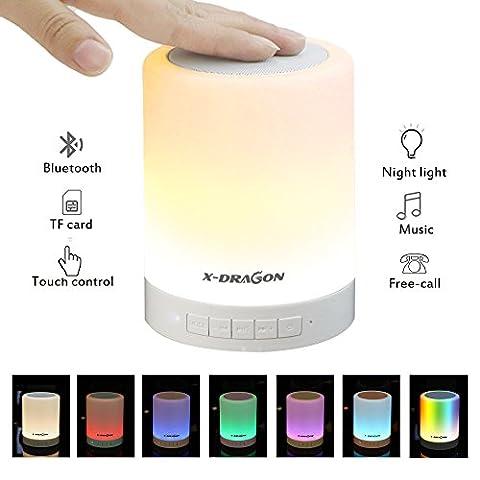 X-DRAGON Haut-parleur Bluetooth Lampe tactile Lampe de chevet sans fil avec couleur intelligente Changement de mode lampe, lecteur de musique, mains libres Bluetooth mains libres, carte TF, prise en charge AUX