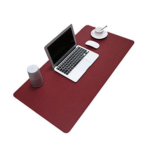 BUBM Tapis de souris en cuir PU et mate Bureau Pad et protection d'écran souris Pad pour ordinateurs et ordinateurs portables 80 x 40cm (Vin rouge)