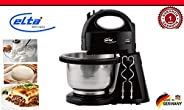 ELTA HM-250.2E hand mixer with mixing bowl set with whisk + dough hook 300 watt, Black
