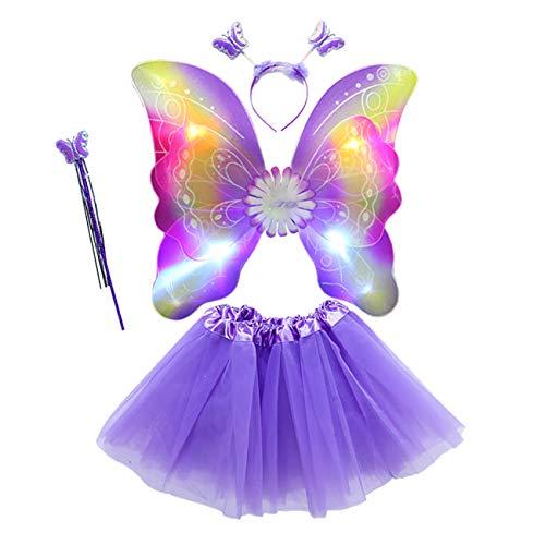 EZSTAX 4pcs LED Leuchtend Schmetterling Kostüm Halloween Cosplay Prinzessin Elfe Flügel mit Zauberstab für Party Karneval Fasching Fastnacht Halloween,Lila 2#