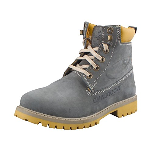 Woodland Men's Grey and Yellow Leather Boots (Gb 1276113 Grey-41) - 7 UK
