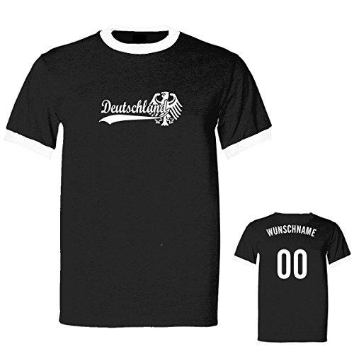 Shirtfun24 Herren RETRO 2016 Gold EM WM Deutschland Name Nummer Ringer Fun T-Shirt, schwarz, XXL (Trikot Ringer T-shirt Kurzarm)