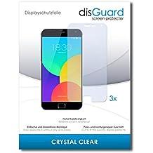 3 x disGuard Crystal Clear Lámina de protección para Meizu MX4 Pro / MX-4 Pro - ¡Protección de pantalla cristalina con recubrimiento duro! CALIDAD PREMIUM - Made in Germany