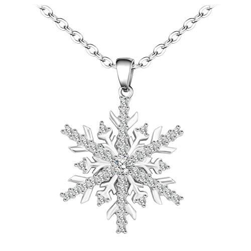 Bibeary Sterling Silber 925 Schneeflocke Halskette Kristall Cubic Zirkonia Pendant ()