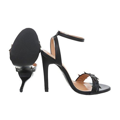 Ital-Design Chaussures Femme Sandales Aiguille Sandales Escarpins High Heel noir B511YH-PB
