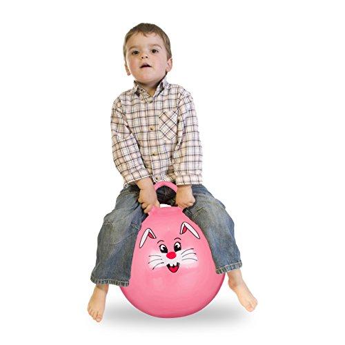 Relaxdays Hüpfball Kinder, Hase, mit Griff, für Drinnen und Draußen, mit Tier-Motiv, weich, 45 cm Durchmesser, pink - Mädchen Aufgeblasen