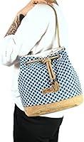 Handtasche, blaue Bucket Bag aus Kork und Jacquard