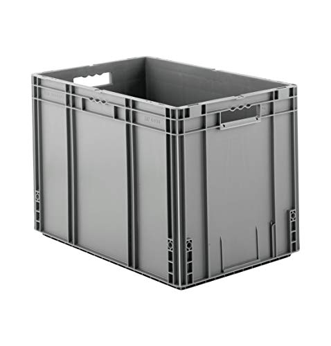 SSI Schäfer MF 6420 Eurokiste Kunststoffbox Transportbox offen ohne Deckel, 600x400 mm, 82,9 l, 30 Kg Tragkraft, Made in Germany, Grau (Stapeln Kunststoff Behältern Von)