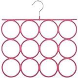 HLC 3 unidades Percha Colgador Organizador con 12 bucles para colgar chales,cinturones,corbatas,pañuelos,joyas,bufandas,color rosa