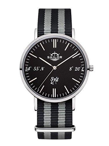 sailor-horloge-sylt-limited-edition-montre-bracelet-model-sylt-en-argent-noir-avec-bracelet-en-nylon