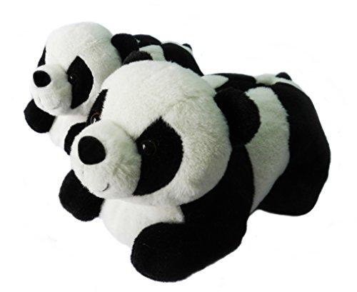 Zapatillas De Animales Para Mujeres, Pantuflas Zapatillas De Invierno Oso Panda Para Mujeres (37-40 EU, en blanco y negro)