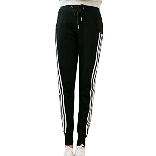 QIYUN.Z Decor Raye Les Femmes De Cote epaissir En Peluche Sportifs Occasionnels a Long Crayon Pantalon Pantalons Noir
