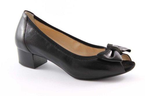MELLUSO N383 nero scarpe donna decolletè elasticizzato suola gomma Nero