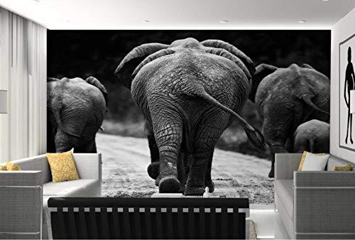 Minyose Custom Wallpaper 3D Black and white African elephant animal Modern Abstract Art Wall Mural Living Room 3d Wallpaper-350cmx245cm -