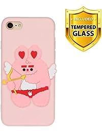 Boloker Funda para iPhone SE(2020) (4,7 Pulgadas) [con Protector Pantalla] Slim Elegante Transparente TPU Silicona Cubierta Glitter Cristal Choque Absorción Smartphone Funda Case (Cupido)