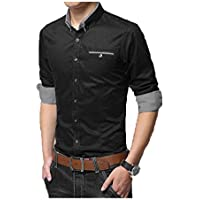 IndoPrimo Men's Cotton Casual Shirt for Men Full Sleeves (Black, Medium - 40)