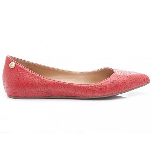 Love Moschino - Bailarinas de Piel para Mujer, Color Rojo 40 Unidades