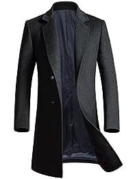 Yasong Men Single Breasted Wool Jacket Trench Coat PeaCoat Overcoat