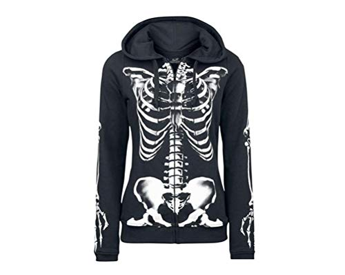 YEMOCILE Damen Skeleton Printed Halloween Zip-Up Kapuzenjacke Jacke Mantel mit Tasche