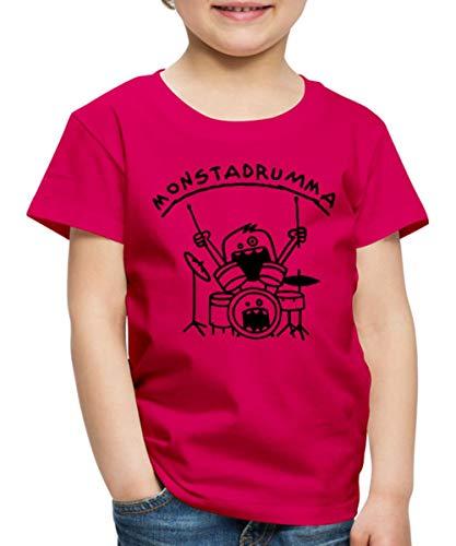 Spreadshirt Monster Drummer Kinder Premium T-Shirt, 122/128 (6 Jahre), dunkles Pink - Trommeln Dunklen T-shirt