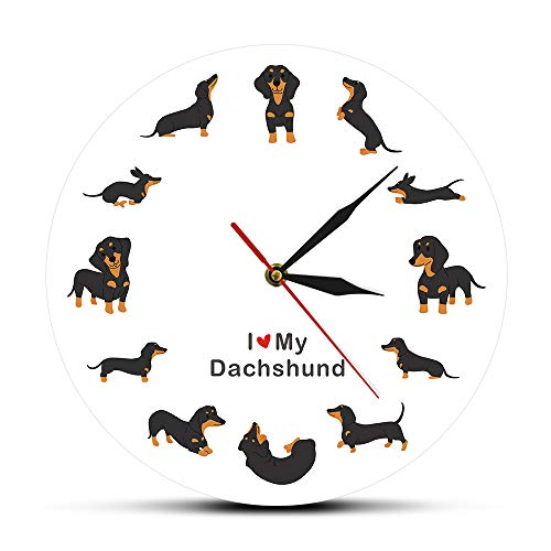 LIUXIAOJIE Moderne Wanduhr des Hundezuchtuhr-Wursthundes mit dem Sagen, DASS ich Dackel Liebe - Höschen Liebe Ich