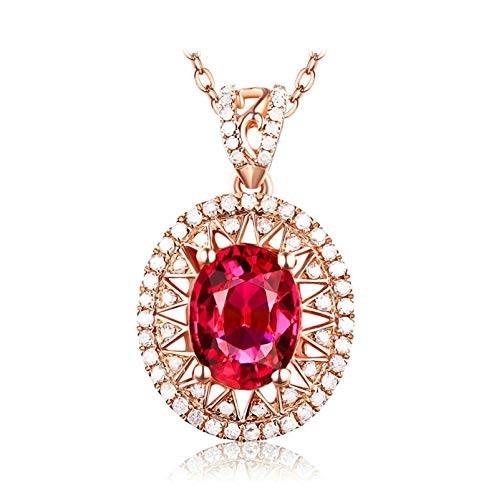 AnazoZ Echtschmuck 18 Karat 750 Gold Damen Halskette 2CT Sonne Oval Anhänger Halsketten Rot Schmuck (Ct 1 2 Diamant-anhänger)
