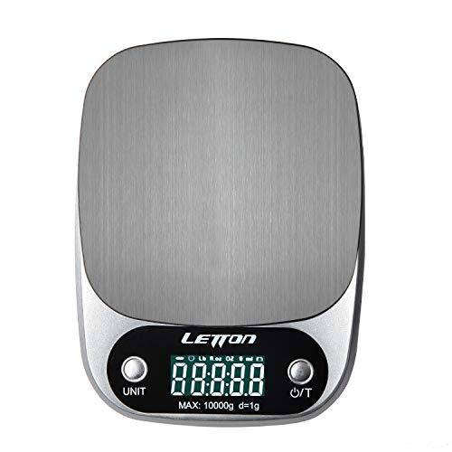 Letton Küchenwaage, Professionelle Digitale Küchenwaage (10 kg/1 g), LCD-Display, Tara-Funktion, Przision auf bis zu 1g, Inklusive Batterien -Silber