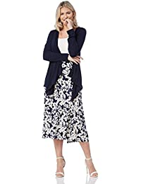 Roman Originals Womens Floral Print Panelled Swing Casual Midi Skirt - Ladies Holiday Beach Garden Party Going Out Skirts - Navy Blue