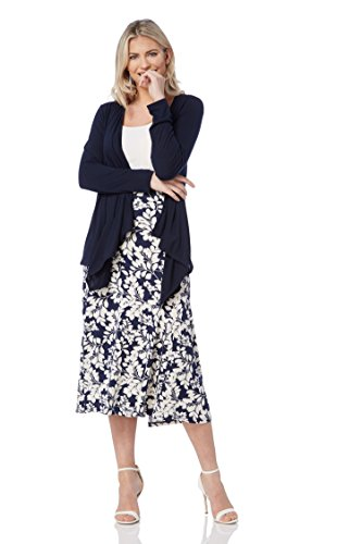 Roman Originals Women Floral Print Panelled Swing Casual Midi Skirt - Ladies Holiday Beach Garden Party Going Out Summer Skirts - Navy Blue