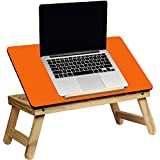 HOLME'S Laptop Table TC005/Multipurpose Table/Fordablng Table/Eatie Table/Study Table/Reading Table/Craft-Work Table/Bed Laptop Table/Lappi Table/Wood Table/Portable Laptop Table/ (Color - Orange)