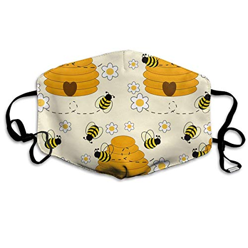 HUSDFS Mouth Maske Bee Hive Mouth Mask Unisex Dust Mask Reusable Mask for Men and Women -