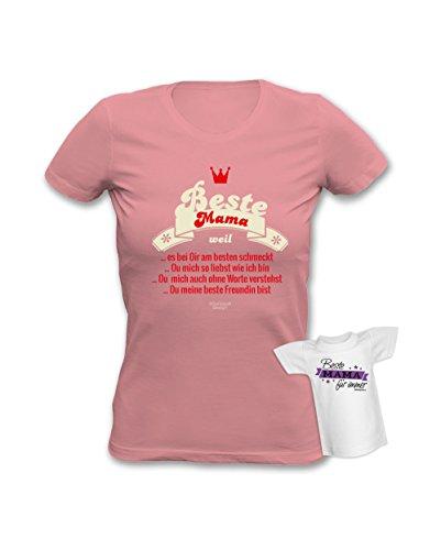 Beste Mama weil Mutter Girlie Fun Damen Sprüche T-Shirt Geschenke Set Muttertag mit Minishirt Farbe: rosa Rosa