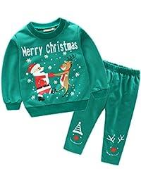 cheyuan Baby Weihnachten Hirsch Schneemänner Brief Muster 2 Stück Sweatshirts Set, Rundhals-Pullover+ Lächeln Gesicht Hose