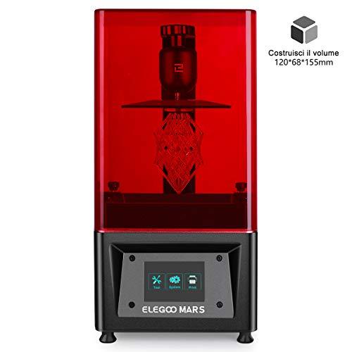 """ELEGOO Stampante 3D LCD per Fotopolimerizzante MARS UV con Schermo a Colori Smart Touch da 3,5"""" Stampa Offline 3D Printer Dimensione di stampa 11.98cm (L) x 6.8cm(W) x 15.5cm(H) -Nero"""
