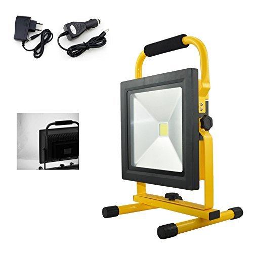 HG® 50W Kaltweiß LED Akku Fluter Arbeitsleuchte Baustrahler Handlampe Campinglampe Wiederaufladbare Außenstrahler
