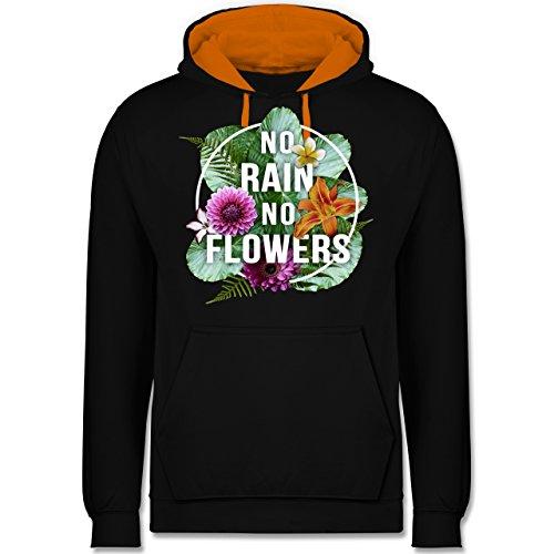 Blumen & Pflanzen - No Rain No Flowers - Kontrast Hoodie Schwarz/Orange