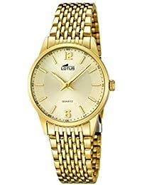 3a920c403082 Lotus Reloj de Cuarzo para Mujer con Oro Esfera analógica Pantalla y Oro  Pulsera de Acero