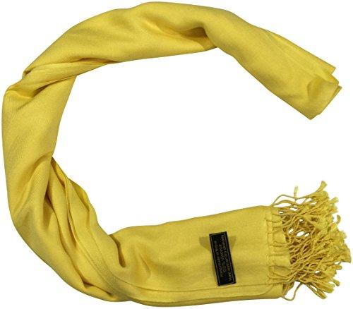 CJ Apparel Solide Couleur Unie Conception Népalaise Châle écharpe (50+ couleurs) Secondes Jaune (Couleur # 4)