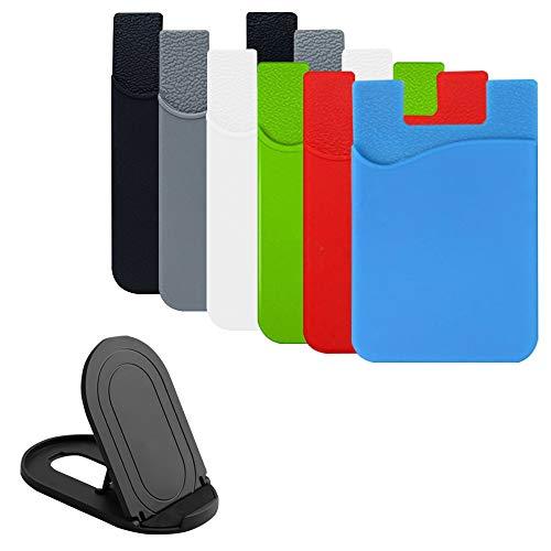 AFUNTA Handy-Kartenmappe, 6 Pcs Klebstoff-Kartenhalter & 1er Pack Telefonständer für ID/Kreditkarte, Handyhüllen, Tasche kompatibel mit den meisten Smartphones - 6 Farben