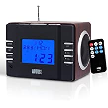 August MB300 - Radio FM MP3 y Alarma Despertador - Reproductor MP3 con Lector de Tarjetas SD, USB y Conexión Auxiliar