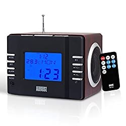 Clock Radio With Mp3 Alarm - August Mb300 - Wake To Your Favourite Music From Usb & Sd Or Fm Station - Rechargeable Portable Speaker [Black]