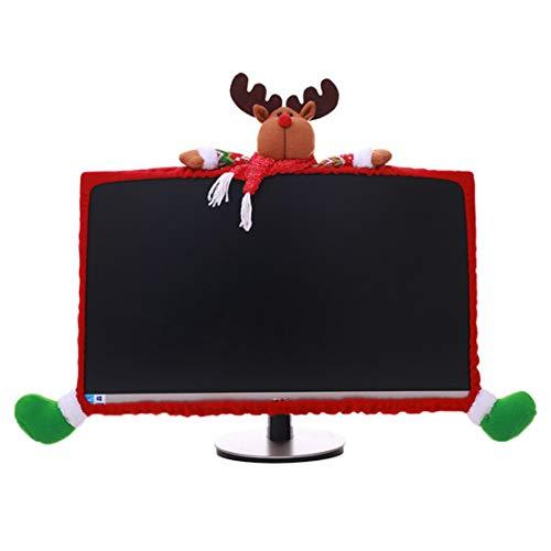 Happy Event Santa Claus Schneemann Elch Weihnachten Dekorationen Computer Set TV Fernsehen Display Rahmen Abdeckung Staub Schutz Hause (C)