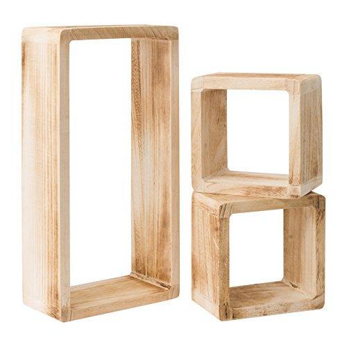 Ensemble de 3 Etagères étagère étagères pendaison de bois naturel clare cube design clair (Cod. 0-1467)
