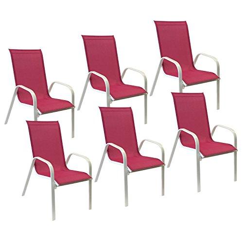 Happy Garden Lot de 6 chaises Marbella en textilène Rose - Aluminium Blanc