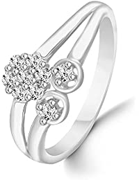 Classic Floral Diamond Studded Rhodium Plated Alloy & Brass Cz American Diamond Finger Ring For Women & Girls...