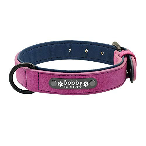 Hykis - Dog Collars Personalized Custom Leather Dog Collar Name ID Tags for Small Medium Large Dogs Pitbull Bulldog Beagle [S Purple]