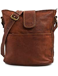 8338cbe430ecf Nama  Nicole  Handtasche Echtes Leder Umhängetasche für Damen Vintage Look  Schultertasche klein Shopper Beutel