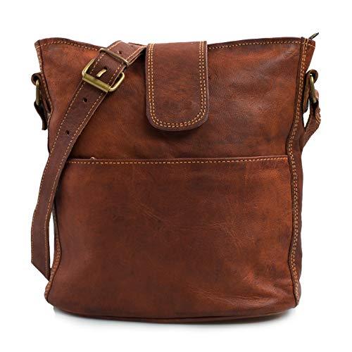 Nama \'Nicole\' Handtasche Echtes Leder Umhängetasche für Damen Vintage Look Schultertasche klein Shopper Beutel Multitasche Naturleder Braun