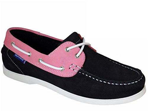 QUAYSIDE Alderney Portugiesisch Damen Leder Bootsschuhe Marineblau/Rosa EU 37